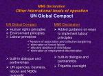 mne declaration o ther international levels of operation un global compact