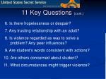 11 key questions cont
