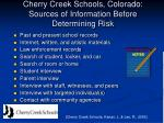 cherry creek schools colorado sources of information before determining risk