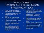 lessons learned final report findings of the safe school initiative 2002