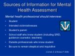 sources of information for mental health assessment