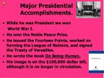 major presidential accomplishments