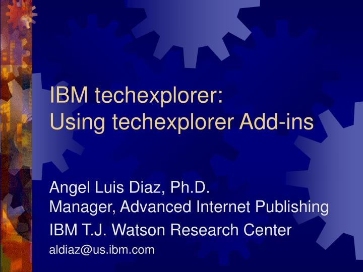 ibm techexplorer using techexplorer add ins n.
