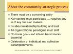 about the community strategic process