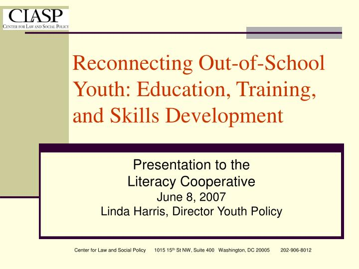 reconnecting out of school youth education training and skills development n.