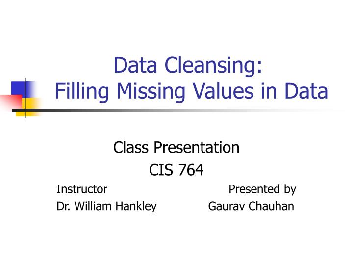 data cleansing filling missing values in data n.