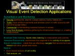 visual event detection applications