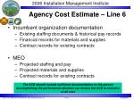agency cost estimate line 61