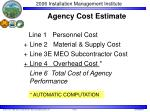 agency cost estimate