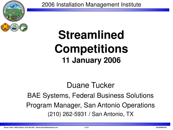 streamlined competitions 11 january 2006 n.
