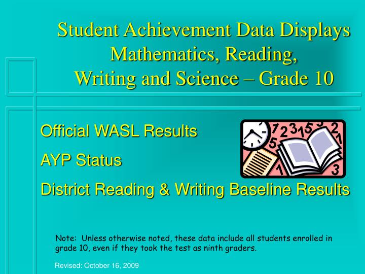 student achievement data displays mathematics reading writing and science grade 10 n.