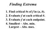 finding extrema