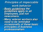 principles of impeccable work behavior