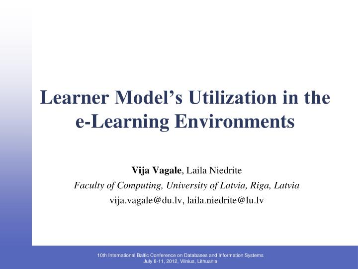 learner model s utilization in the e learning environments n.