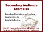 secondary audience examples