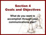 section 4 goals and objectives