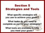 section 5 strategies and tools