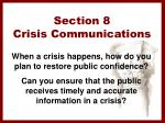 section 8 crisis communications