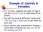 example of controls variables
