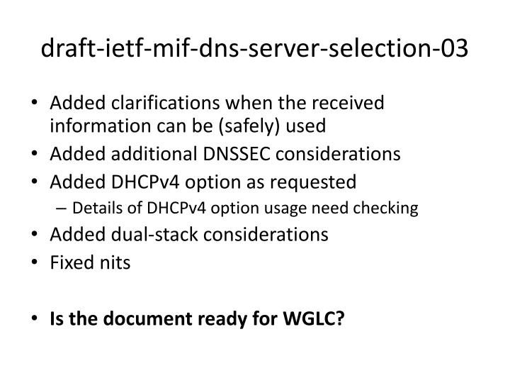 draft ietf mif dns server selection 03 n.