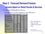 step 3 forecast demand factors income spent on retail goods services