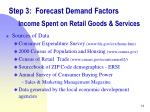 step 3 forecast demand factors income spent on retail goods services1