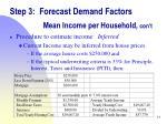 step 3 forecast demand factors mean income per household con t1