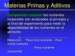materias primas y aditivos73
