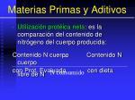 materias primas y aditivos76