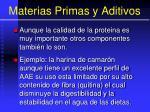 materias primas y aditivos77