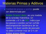 materias primas y aditivos78