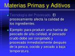 materias primas y aditivos82