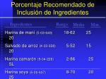 porcentaje recomendado de inclusi n de ingredientes2