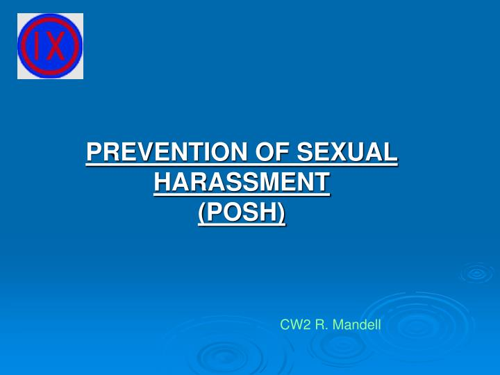 prevention of sexual harassment posh n.