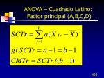 anova cuadrado latino factor principal a b c d