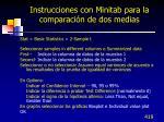 instrucciones con minitab para la comparaci n de dos medias