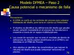 modelo dfmea paso 2 causa potencial o mecanismo de falla