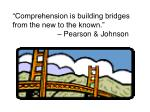 comprehension is building bridges from the new to the known pearson johnson