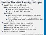 data for standard costing example
