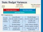 static budget variances