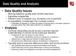data quality and analysis