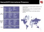 hansa gcr international presence