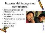 razones del tabaquismo adolescente