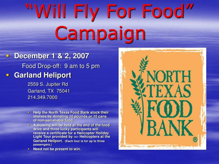 will fly for food campaign n.