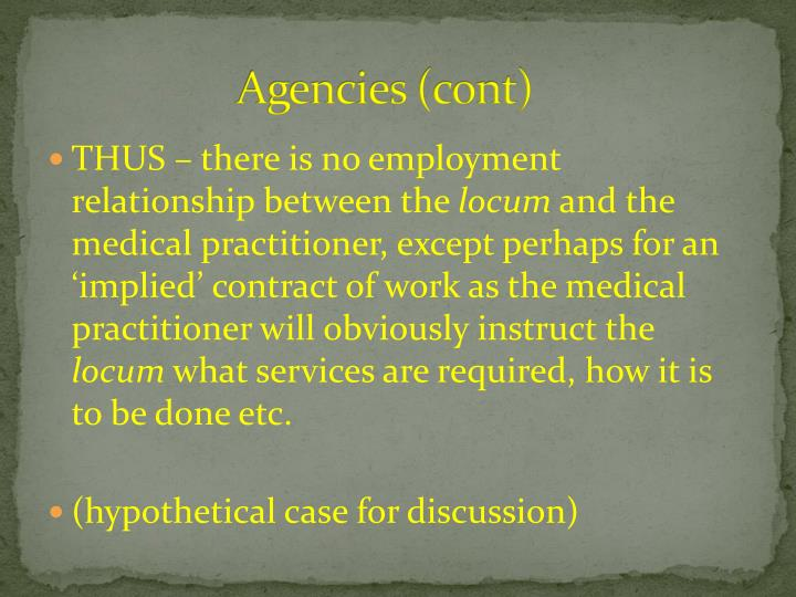 Agencies (cont)