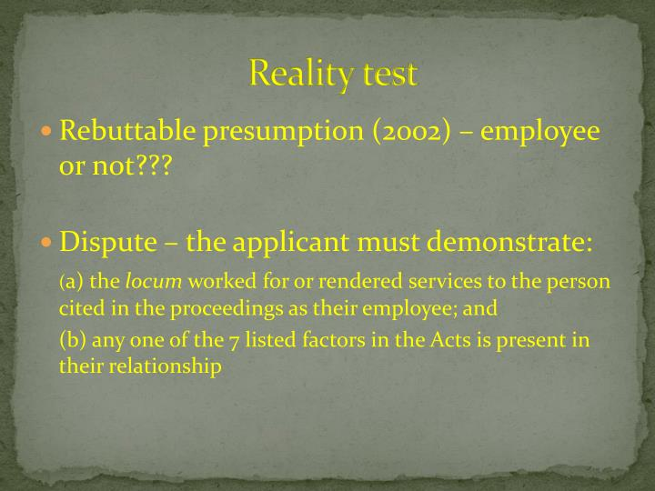 Reality test