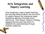 arts integration and inquiry learning