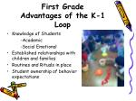 first grade advantages of the k 1 loop