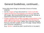 general guidelines continued