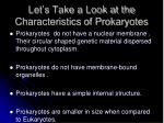 let s take a look at the characteristics of prokaryotes1